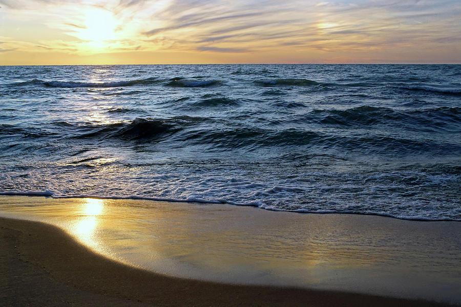 Sundog Sunset Over Lake Michigan by Kathi Mirto