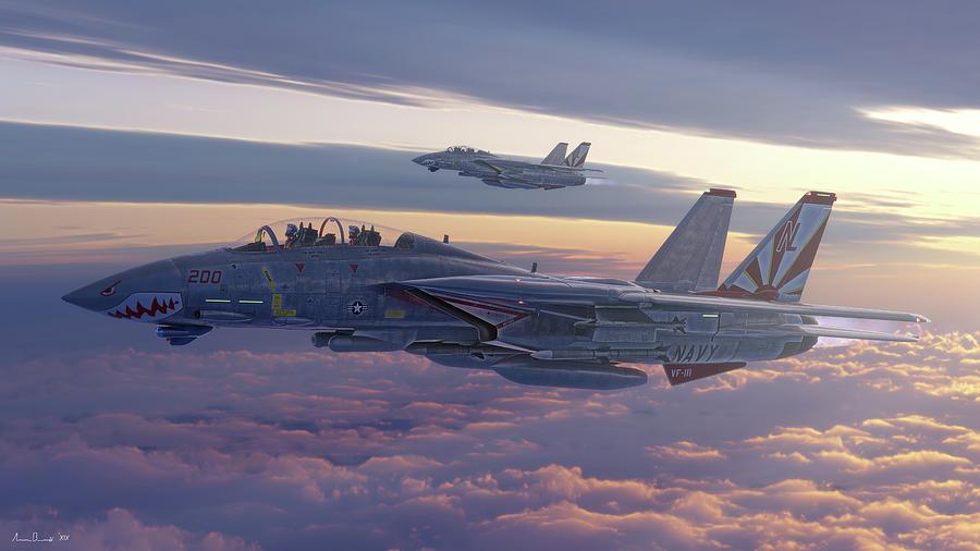 F-14 Digital Art - Sundowners of the Future by Hangar B Productions