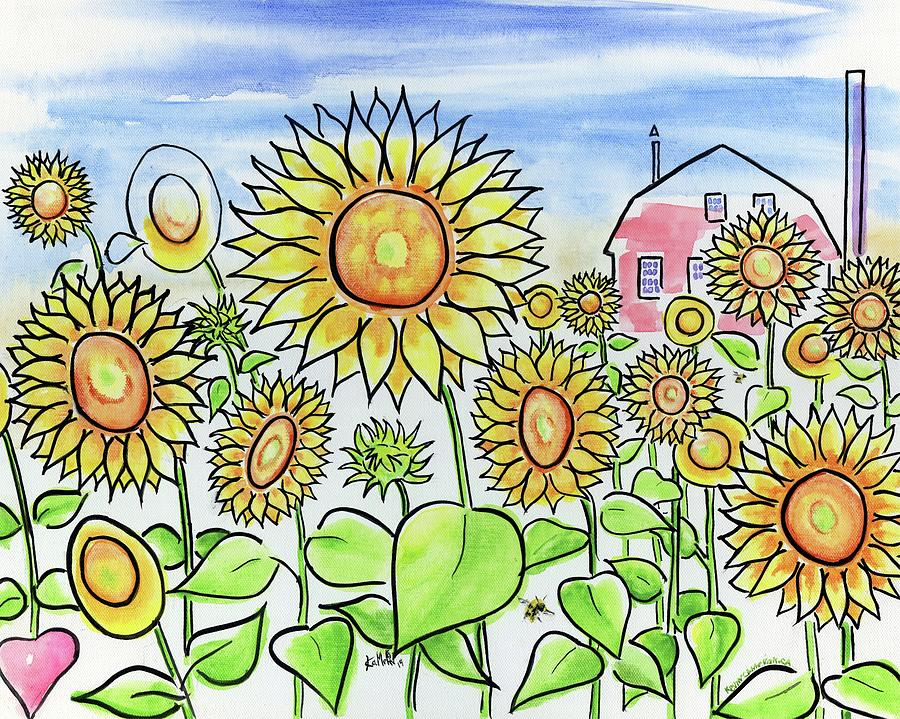 Sunflower Painting - Sunflower Gods by Kevin Cameron