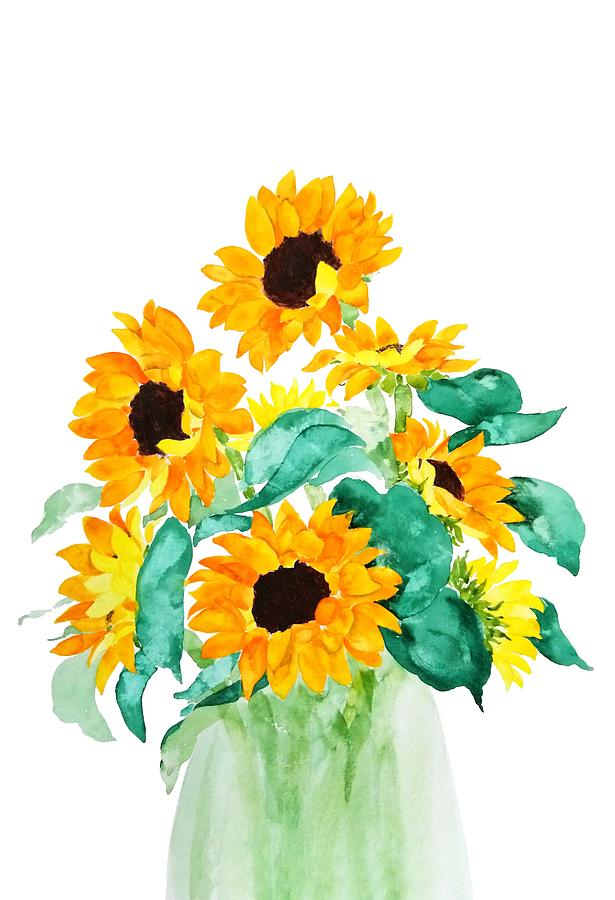 sunflower in green vase by Color Color