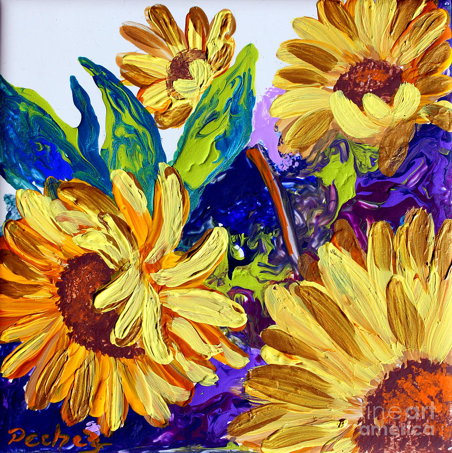 sunflower on 6x6 tile by Pechez Sepehri