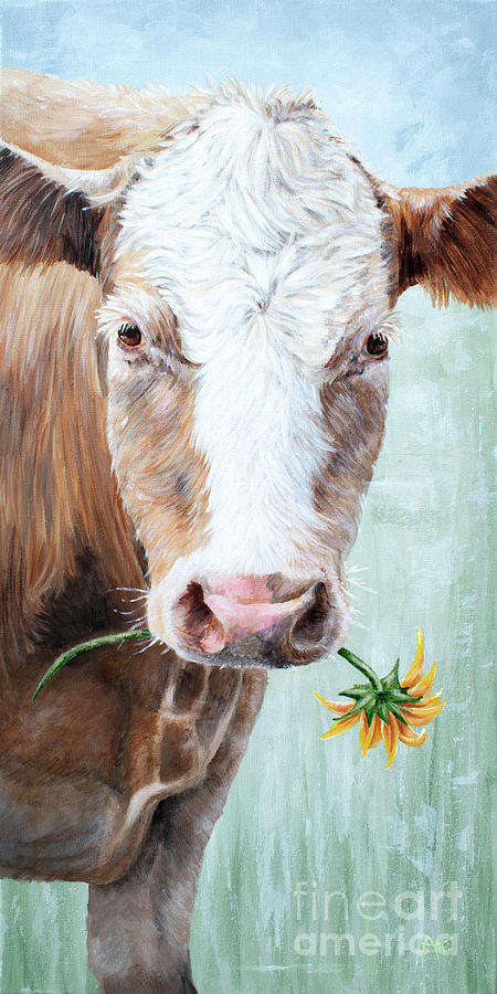 My Sunflower - Cow Painting by Annie Troe