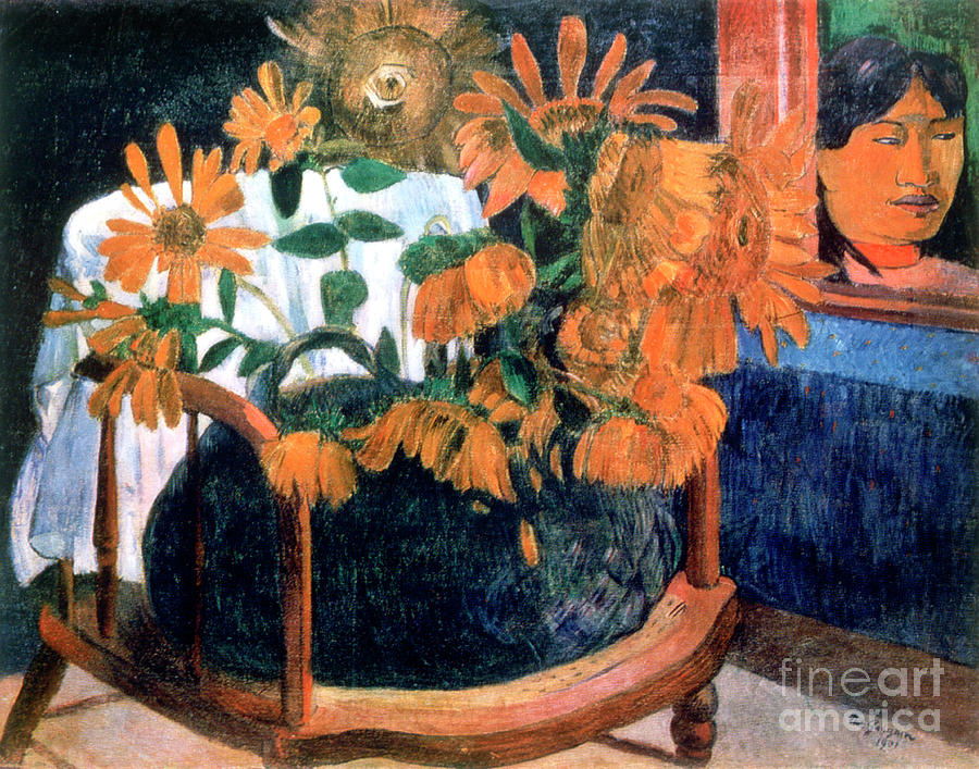 Sunflowers, 1901. Artist Paul Gauguin Drawing by Print Collector