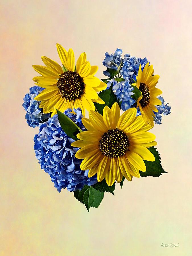 Sunflowers Photograph - Sunflowers And Hydrangeas by Susan Savad