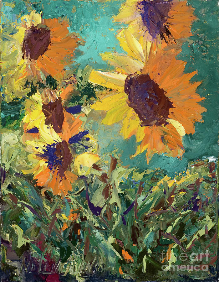 Sunflowers Family Of 5 by Marilyn Nolan-Johnson