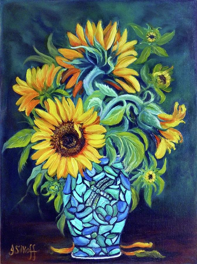 Still Life Painting - Sunflowers In An Art Deco Vase by Janet Silkoff