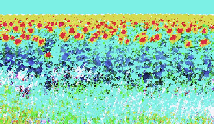 Sun Digital Art - Sunflowers In Aqua by Ann Johndro-Collins