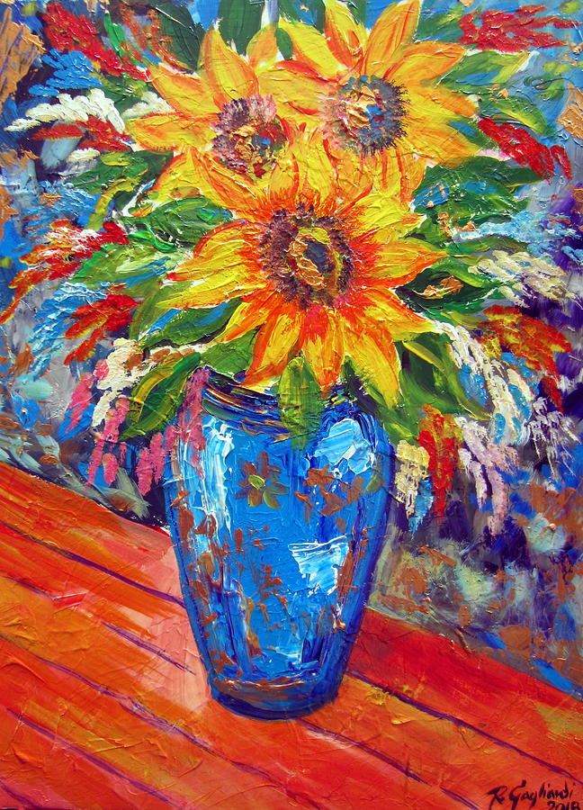 Sunflowers in Blue Vase by Roberto Gagliardi