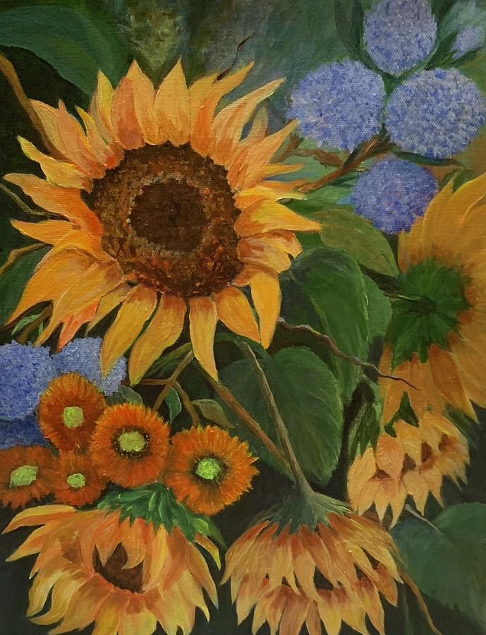 Sunflowers in my Garden by Jane Ricker