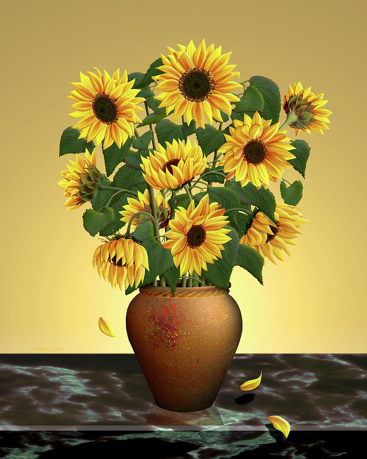 Sunflowers in Pot by David Arrigoni