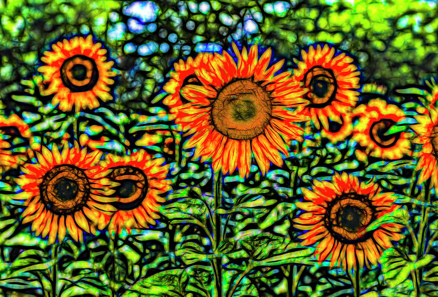 Sunflowers Stained Glass Art Photograph