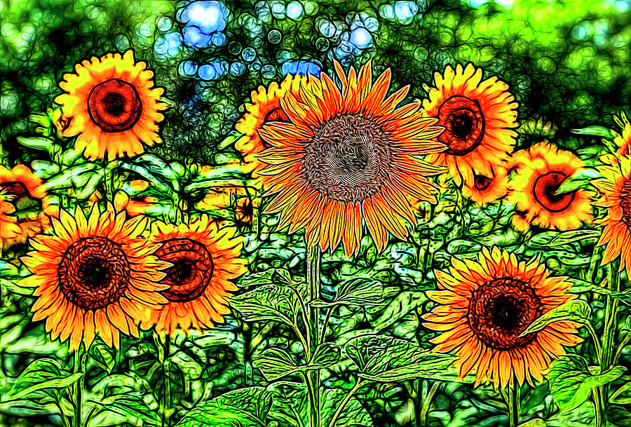 Sunflowers Stained Glass Photograph