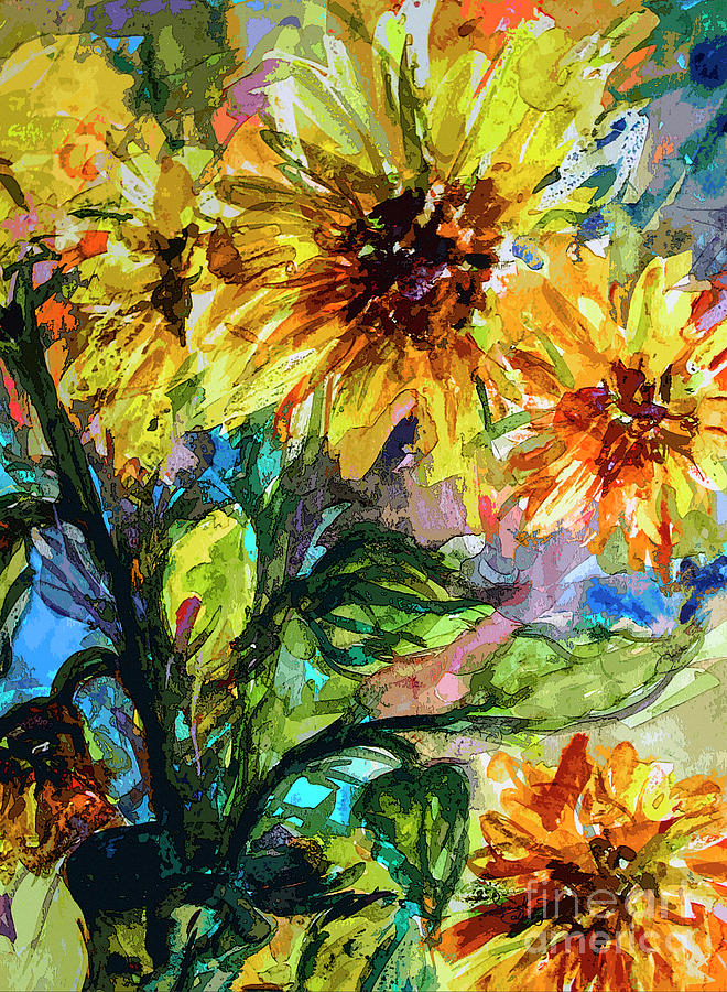 Sunflowers Summer Flowers Mixed Media Mixed Media by Ginette Callaway