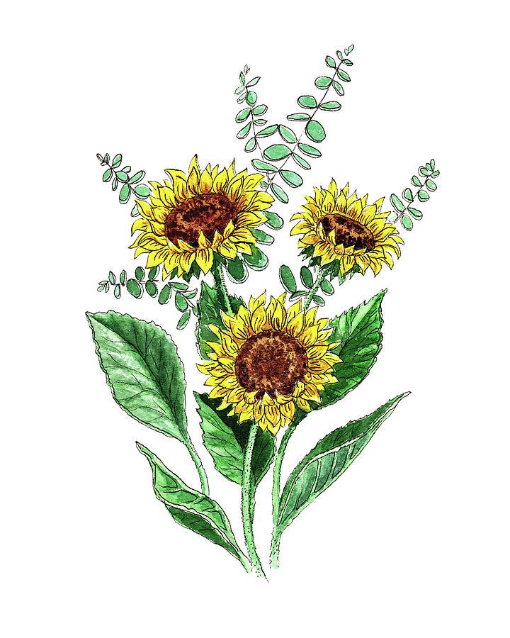 Sunflowers Sunny Bouquet In Watercolor by Irina Sztukowski