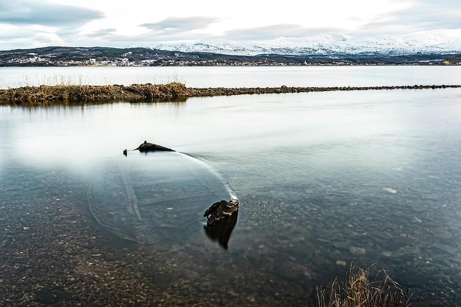 Flowing Water Photograph - Sunken Boat by Kai Mueller