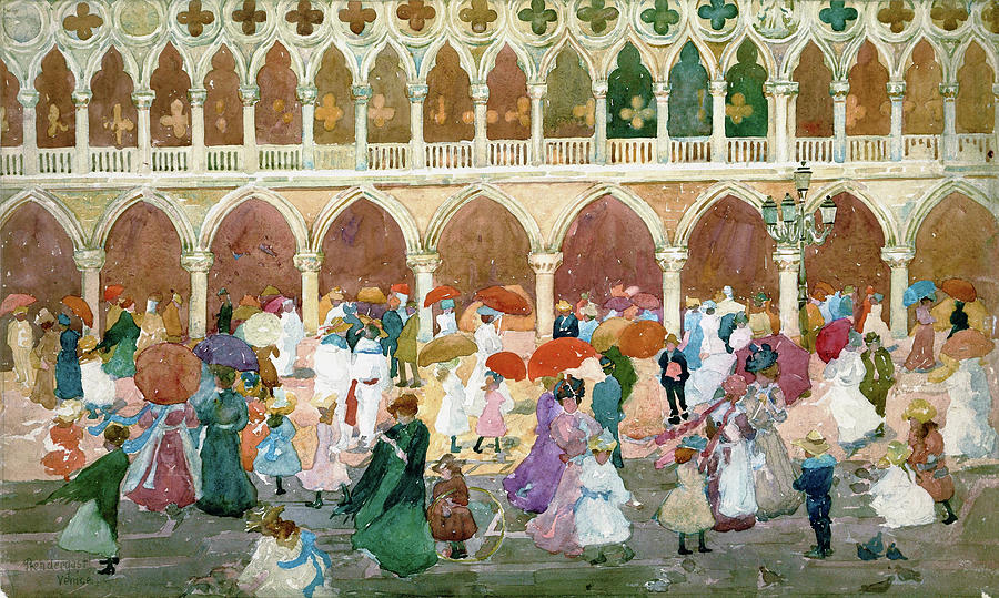Usa Painting - Sunlight On The Piazzetta - Digital Remastered Edition by Maurice Brazil Prendergast