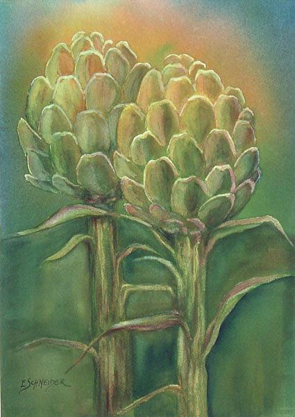 Sunlit Artichokes by Edie Schneider