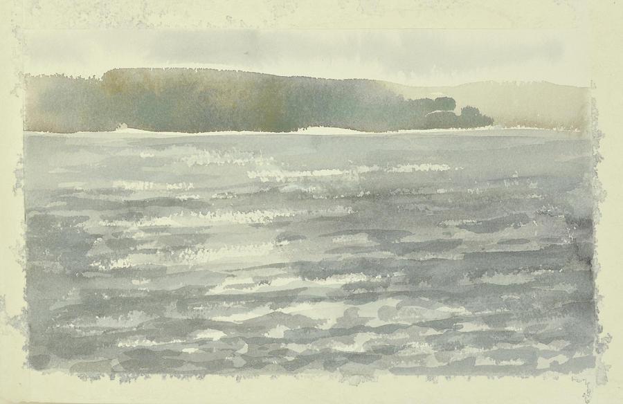 Sunlit Haze Over Glittering Water Soldis Over Glittrande Fjord _0025_120x80cm by Marica Ohlsson