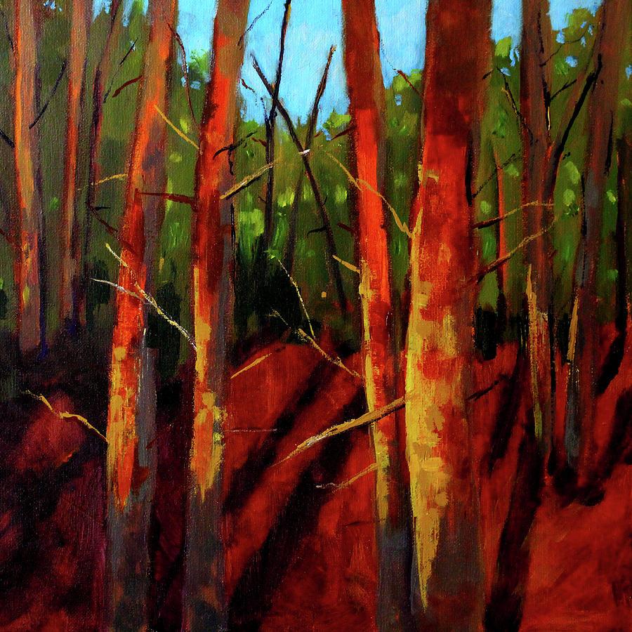 Forest Scene Painting - Sunny Forest Landscape by Nancy Merkle