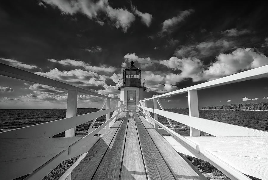 Maine Photograph - Sunny Skies At Marshall Point In Black And White by Rick Berk