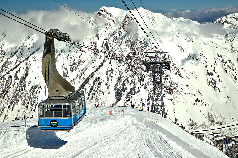 Sunny Skies Over The Blue Snowbird Tram by Adam Jewell