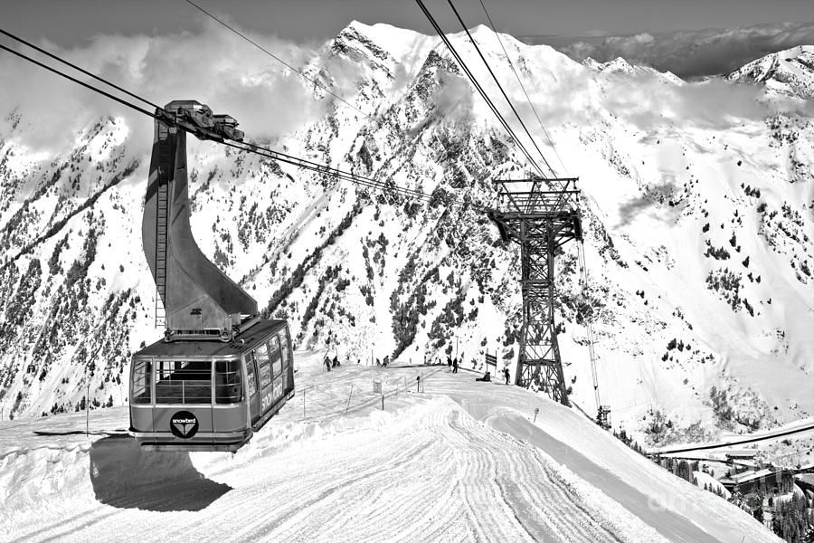 Sunny Skies Over The Blue Snowbird Tram Black And White by Adam Jewell