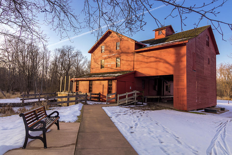 Sunny Photograph - Sunny Winter Day At Bonneyville Mill by Jason Champaigne