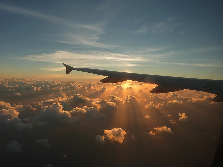 Sunrise At 35,000ft Photograph by E Woolley