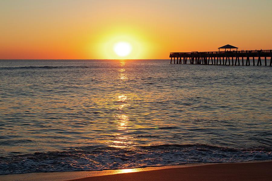 Juno Beach Photograph - Sunrise at Juno Pier Florida by Tina Walsh