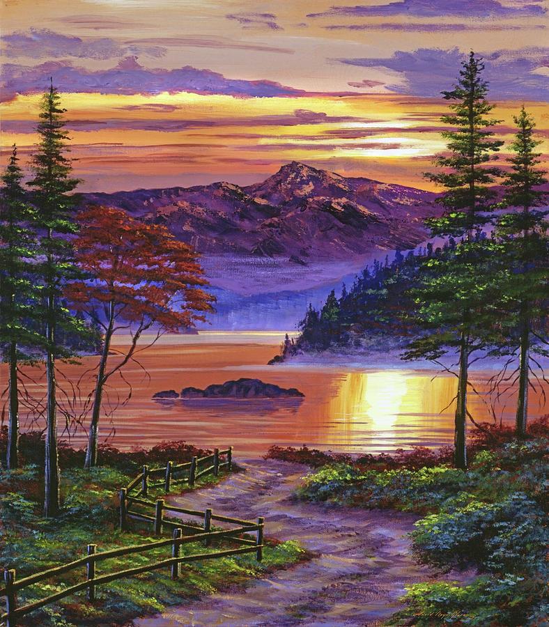 SUNRISE AT MISTY LAKE by David Lloyd Glover