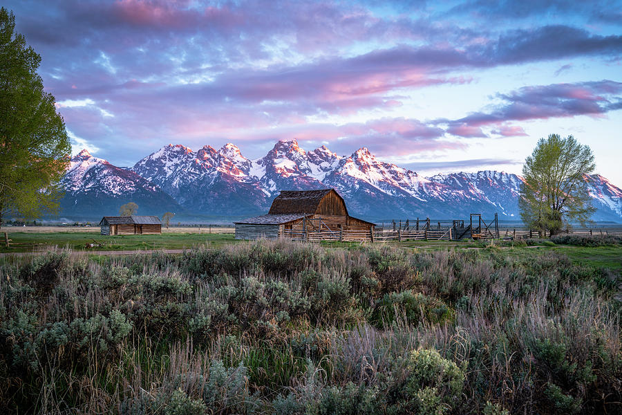 Sunrise at Moulton Barn in Grand Teton National Park by James Udall