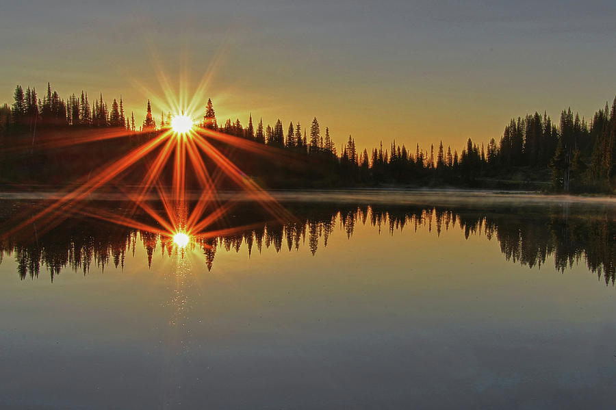 Sunrise at Mt. Rainier Reflection Lakes by Bob Cournoyer