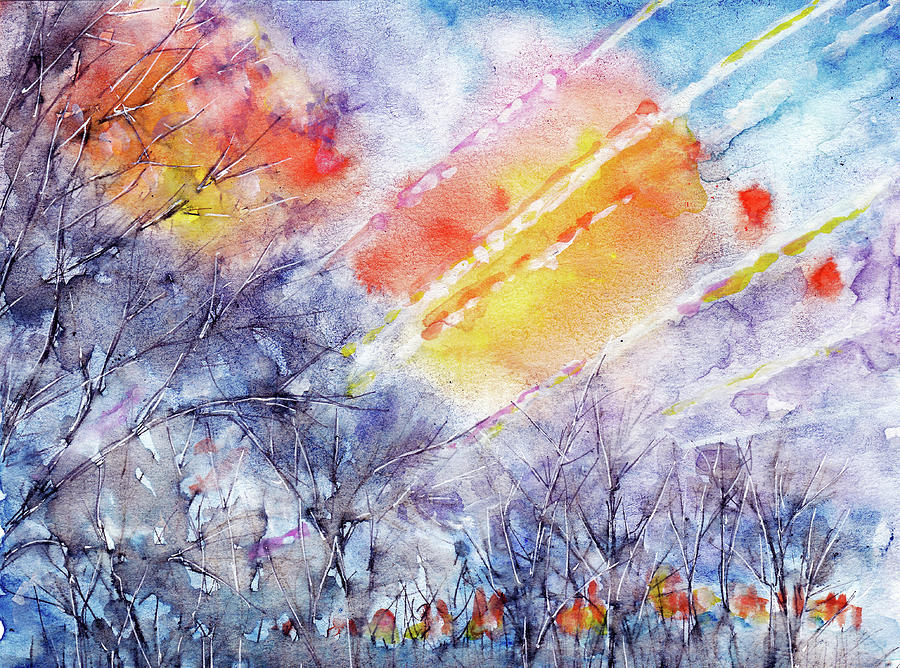 Sunrise In Early Spring Abstract Watercolor Background