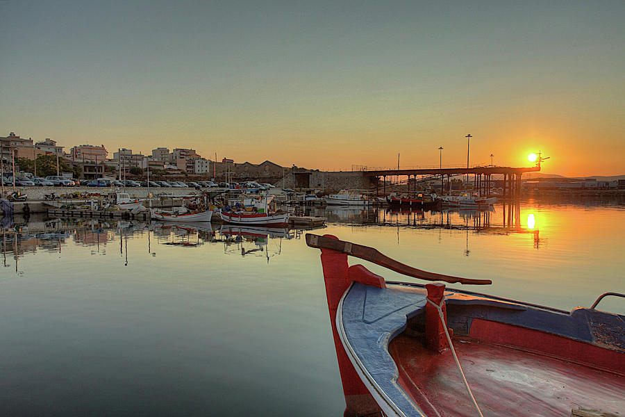 Sunrise In Lavrio Port Photograph by Alexandros Photos