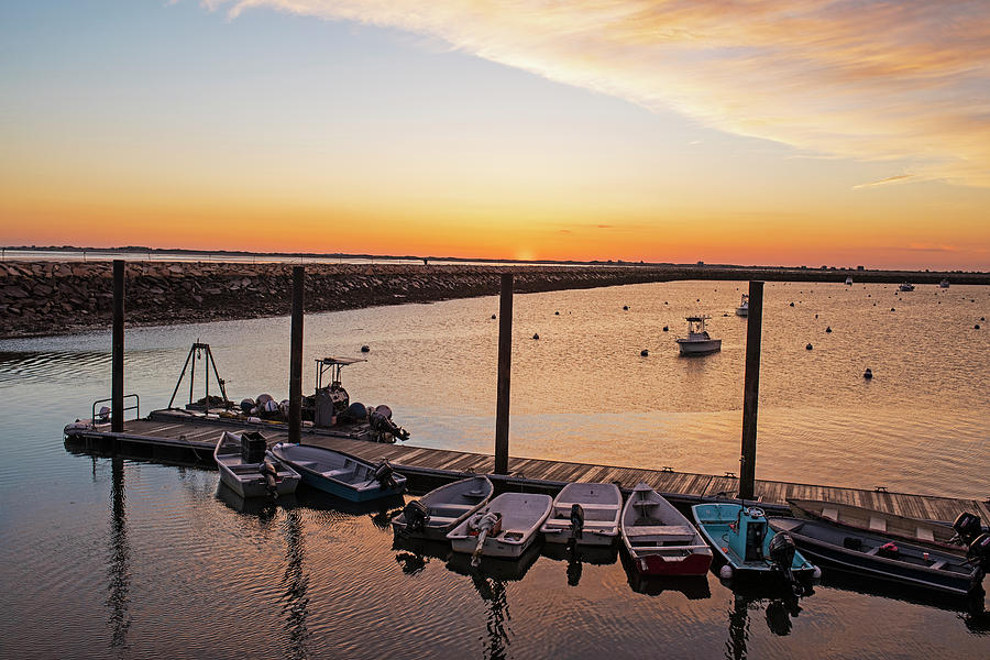 Sunrise in Plymouth MA Boats and rock wall Waterway by Toby McGuire
