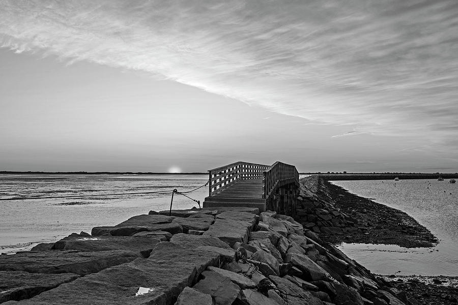 Sunrise in Plymouth MA Bridge and rock wall Black and White by Toby McGuire