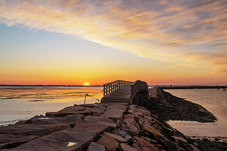 Sunrise in Plymouth MA Bridge and rock wall by Toby McGuire
