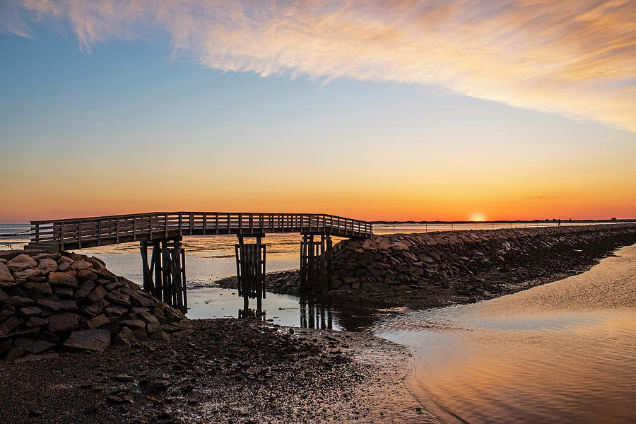 Sunrise in Plymouth MA Bridge and rock wall Waterway by Toby McGuire