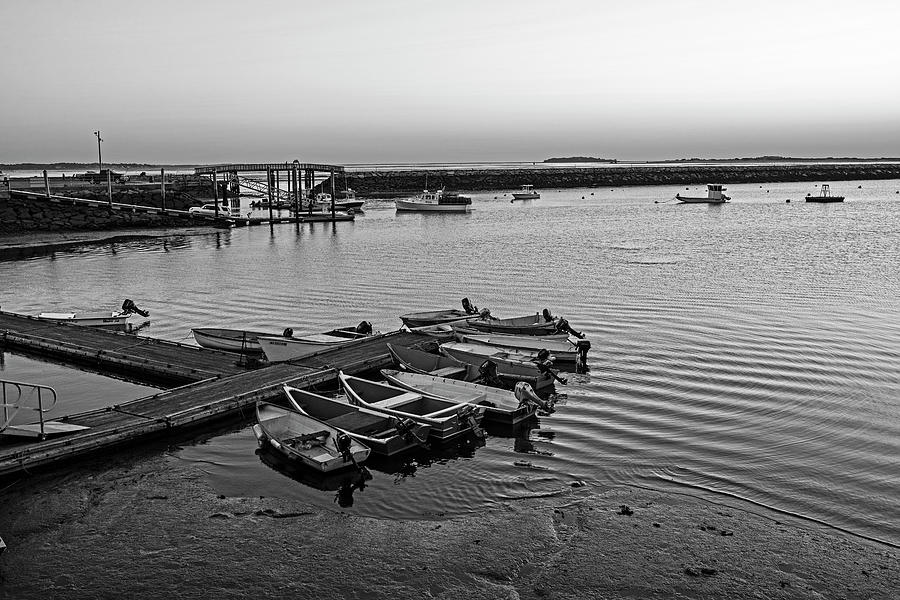 Sunrise in Plymouth MA bridge Boats and rock wall Waterway Black and White by Toby McGuire