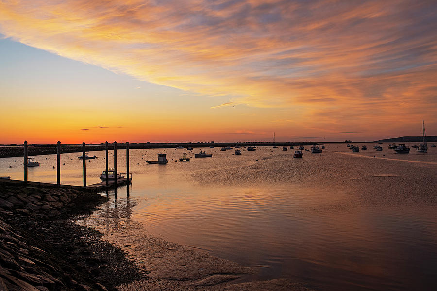 Sunrise in Plymouth MA dock pier boats Golden Sunrise by Toby McGuire