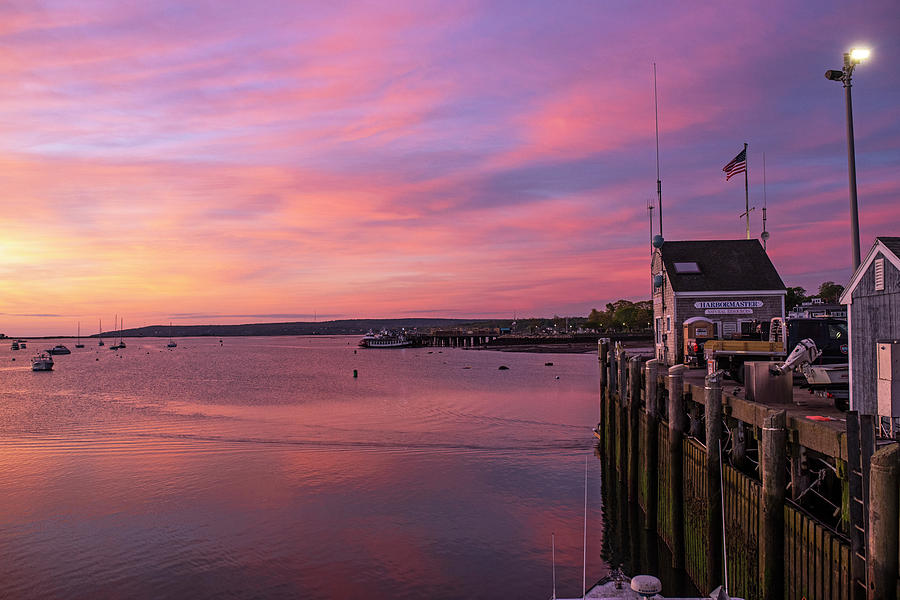 Sunrise in Plymouth MA Harbormaster dock pier by Toby McGuire