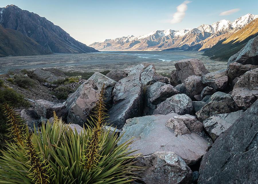 Sunrise In Tasman Valley In New Zealands Aoraki / Mount Cook Natioanal Park by Peter Kolejak