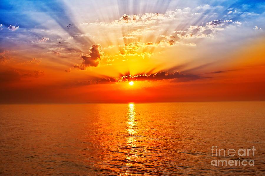 Magic Photograph - Sunrise In The Sea by Merydolla