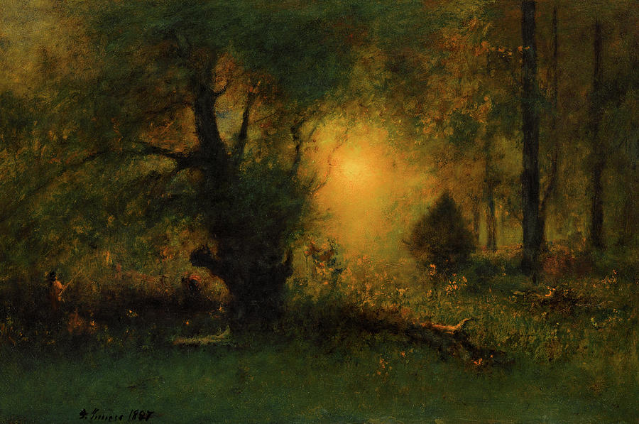 George Inness Painting - Sunrise In The Woods, 1887 by George Inness