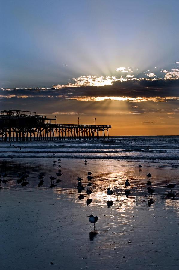 Sunrise On Galveston Beach Photograph by Dhuss