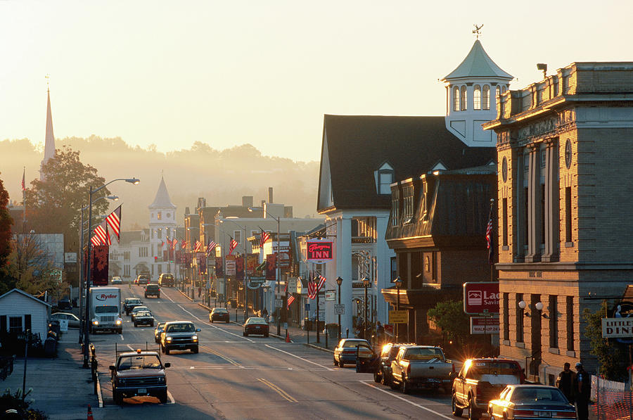 Sunrise On Main Street, Littleon, New Photograph by John Elk Iii