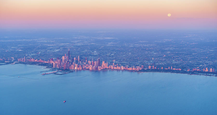 Sunrise Over Chicago Downtown Photograph