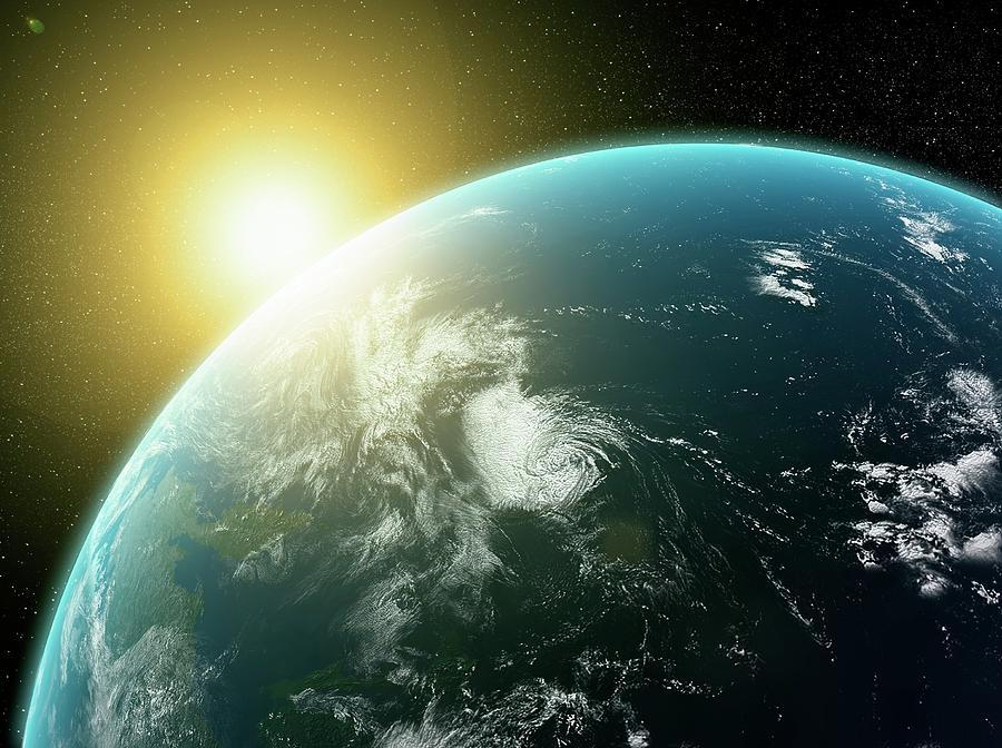 Sunrise Over Earth, Artwork Digital Art by Science Photo Library - Andrzej Wojcicki