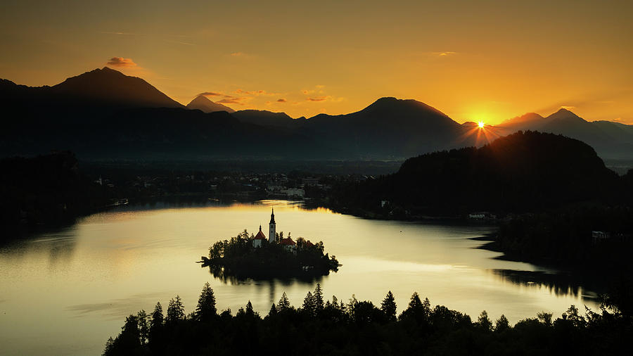 Sunrise over Lake Bled from Ojstrica by Ian Middleton