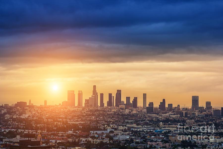 Sunrise Photograph - Sunrise Over Los Angeles City Skyline by Logoboom